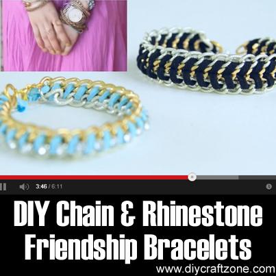 DIY Chain & Rhinestone Friendship Bracelets