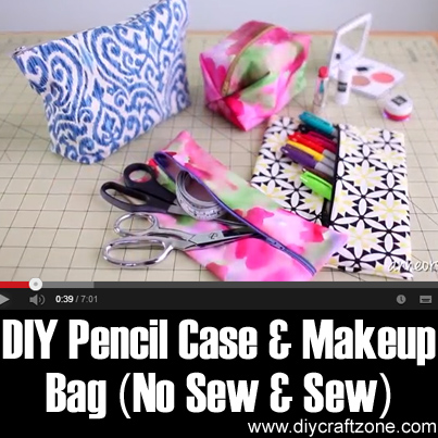 DIY Pencil Case & Makeup Bag (No Sew and Sew)