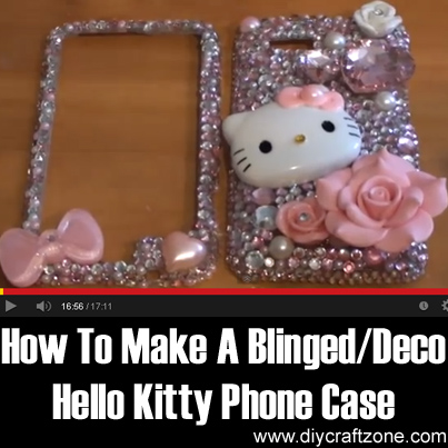 Diy craft zone how to make a blinged deco hello kitty for How to make a homemade phone case