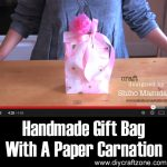 Handmade Gift Bag With A Paper Carnation