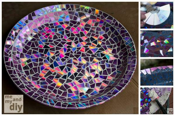 Diy Dvds Diy Craft Zone Amazing Mosaic Tile Birdbath Using Recycled Dvds