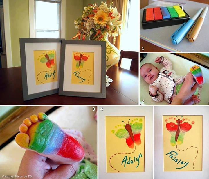 Rainbow Butterfly Footprint Artwork (Crafting With Twinfants)