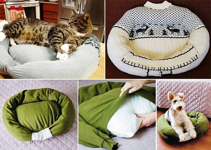 Upcycled Sweater - Cat Bed
