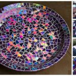Amazing Mosaic Tile Birdbath Using Recycled DVDs!